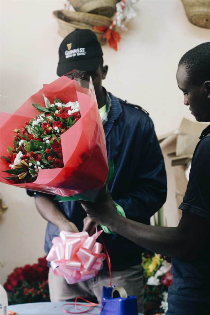 Flower packaging underway at The Red Petal Florist. Their clients range from individuals to organizations, within and outside of Nairobi.